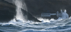 A front row seat for The Tempest (landsendula) Tags: 7002000mmf28 stormlight nikond300 wavepower engulfed building cliffs spume galeforce rawnature thewhitehouse