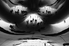 Reflections (halifaxlight) Tags: unitedstates illinois chicago anishkapoor sculpture thecloud thebean reflections figures silhouettes bw
