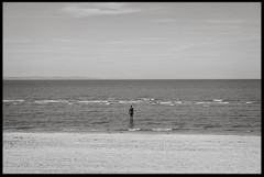16th of August 2016 (Paul of Congleton) Tags: august 2016 crosby sefton merseyside england uk sculpture statue anotherplace anthonygormley public art installation coast beach sea digital monochrome blackandwhite sony rx100