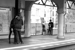L'animale sociale-Appunti di un voyeur (14) - Waiting the train (Antonello Hank Trezza) Tags: train metro germania germany black white blackandwhite woman man people travelphotography travel trip berlin berlino italy italia photo photography photooftheday photographer photoreporter reportage foto fotografia fotoreporter fujifilm iso asa shoot urban urbanphotography