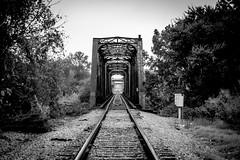 Old Tracks in Waco (mikerastiello) Tags: blackandwhite traintracks railroadtracks texas tx waco wacotx wacotexas