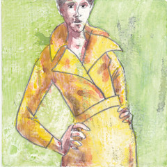 # 336 (01-12-2016) (h e r m a n) Tags: herman illustratie tekening bock oosterhout zwembad 10x10cm 3651tekenevent tegeltje drawing illustration karton carton cardboard vrouw woman coat jas mode fashion