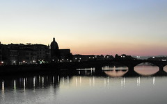 arno reflections (kexi) Tags: florence firenze florencja italy europe toscany tuscany arno river water afternoon samsung wb690 october 2015 reflections thebluehour bridge lights blue pink silhouette evening instantfave