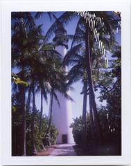 Lighthouse (scrapenbaker) Tags: miami usa florida polaroid landcamera fuji fp 100c fujifilm 104 instant lighthouse key biscane palms sun