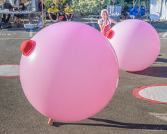 Buskers Day 7: Les Soeurs Kif-Kif (Cameron Knowlton) Tags: potd kif sisters street performer performers balloons bc busker buskers canada circus clown clowning clowns d600 fun nikon pink place twins victoria wacky 2013