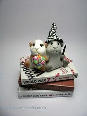 Guinea Pig Love Couple (Quernus Crafts) Tags: cute guinea pig books polymerclay brideandgroom weddingcaketopper quernuscrafts