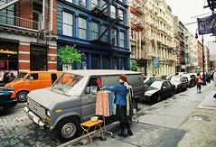 Greene Street, SoHo, New York, USA (Thierry Hoppe) Tags: street usa ny newyork us soho clothes van selling greenestreet