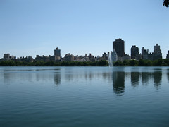 Central Park Reservoir (Emmalucie Moss) Tags: city usa lake holiday ny newyork reflection water beautiful proud skyline america buildings river happy photography boat student cityscape view centralpark famous sunny structure reservoir clear scenary abroad stunning popular pleased