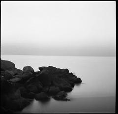 Untitled (Salt.as) Tags: sea bw white black 120 6x6 film rocks long exposure f22 kiev 6c ilford 114 homedeveloped panf50 60sec ilfosol3