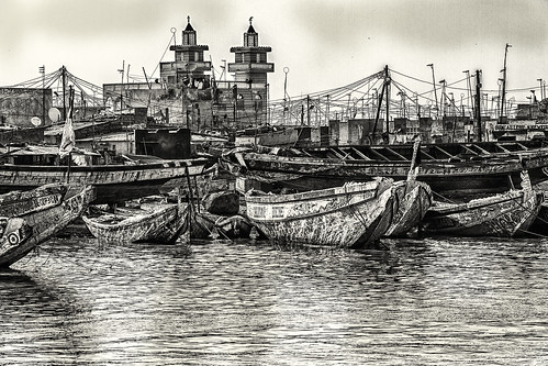 Traditional Boats at Saint Louis, Senegal in black and white