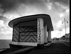 Lowestoft Lifeguard 1 (John   Adrian   Orr   Photography) Tags: white black monochrome 645 east developer bronica epson hp5 ilford anglia lowestoft etrs v500 lc29 zenza