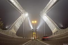 _Otro_ puente en la niebla (Iban Lopez (pepito.grillo)) Tags: city urban night ciudad fisheye valladolid nocturna urbana 8mm niebla ojodepez d90 puentedehispanoamrica ibanlopez