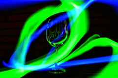 playing with glo sticks in the dark (Aspect-12) Tags: glass night sticks glowing colourful wineglass glo