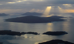 Sunbeam over Taransay, North Harris (descent from Cleiseval) - Alan O'Brien