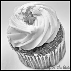 Butterflies Cupcake (Daisy Sparkles old account) Tags: blackandwhite stilllife food monochrome naughty dessert mono baking sweet chocolate sugar cupcake icing highkey iced brownies nom naughtybutnice sweettreat dessertheaven silverefexpro