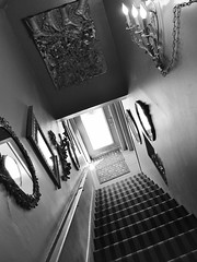 DSCF5801 (Drew Z) Tags: blackandwhite bw wisconsin stairs cafe fuji mirrors stairway madison lazy fujifilm candlelight wi janes x10