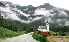 Heavenly Clouds, Norway (Simon__X) Tags: road travel red vacation mist plant mountains love church nature beauty grass norway fog clouds landscape scenery europe heart earth path farm planet wilderness