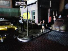"""Go, Johnny, Go!"" (eks4003) Tags: nightphotography cars scale car hope noir running run illusion johnny despair ho streetcorner 187 forcedperspective desoto diorama modelcars filmnoir dioramas nabisco tabletopphotography 1950twodoornash"