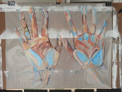Last Night's Experiment (TroyStith) Tags: abstract art painting hands acrylic experiment wip expressionism realism glassine troystith