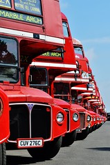 A long line of Routemasters.... (stavioni) Tags: park red bus green london anniversary transport double routemaster 60 leyland decker finsbury aec