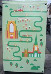 Tour de junction box (leedslily) Tags: green art church bicycle race cyclist box leeds mosque junction spire tourdefrance spectator granddépart