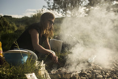 Poked smoked (clairescosmos) Tags: camping ireland light people nature nikon dof smoke watching barbie human barbeque wicklow humans d5200