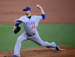 Cubs starter Jon Lester delivers a pitch during the first inning of #NLCS Game 5. (apardavila) Tags: nlcs postseason baseball chicagocubs dodgerstadium jonlester majorleaguebaseball mlb sports