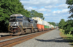 Coming Out of the Sag (craigsanders429) Tags: norfolksouthern ns7718 norfolksoutherntrains garfieldsag garfieldohio nsstacktrains stacktrains nsintermodaltrains tracks railroadtracks