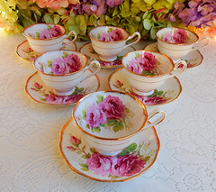Royal Albert Porcelain Cups & Saucers ~ American Beauty ~ Roses ~ Gold (Donna's Collectables) Tags: royal albert porcelain cups saucers ~ american beauty roses gold thanksgiving christmas