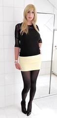 transparent black top, yellow mini skirt, black tights, black pumps (Adrii Kiss) Tags: crossdresser transvestite