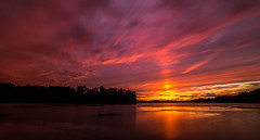 Friday night lights..... (Kevin Povenz Thanks for the 2,600,000 views) Tags: 2016 october kevinpovenz westmichigan michigan ottawa ottawacounty thebendarea sunset water pond lake reflection sky evening dusk sun clouds canon7dmarkii sigma1020 longexposure red pink yellow orange tree photography horizon outdoor outside
