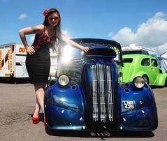 Holly_7366 (Fast an' Bulbous) Tags: ford pop popular fordson van outlawanglia oldtimer fast speed power drag strip race track santa pod pits england dragstalgia people outdoor motorsport pinup girl woman hot sexy hotty dress skirt wiggle long brunette hair seamed stockings highheels stilettos red shoes blue sky summer sunglasses