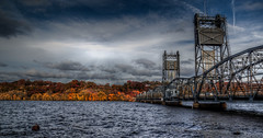 Stillwater Lift Bridge (Paul Domsten) Tags: stillwater liftbridge stillwaterliftbridge wisconsin minnesota bridge historic stcroixriver pentax river water clouds sky fall autumn colors