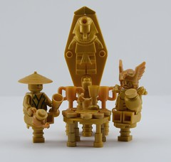 Golden tea time... (Alex THELEGOFAN) Tags: lego legography minifigures minifigure monochrome gold chrome king treasure chest piece crown crowns golden place minifig minifigs minifigurine fond blanc pharaohs ninja