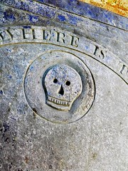 Headstone skull (Mooching About) Tags: skull headstone church cemetery spooky stcleer cornwall old forgotten pasttimes slate handcarved