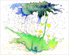 Spatter painting No. 17... (Dave Whatt) Tags: spatter painting acrylicpaint abstract green blue blackink surrealism splash artwork artonpaper