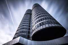 Isolated Vision Series : Darkstar [Explored] (Robert Blauton) Tags: architecture architectural longexposure building skyscraper abstract futuristic modern fineart filter facade nd naturallight colors city urban sky clowds canon munich wideangle