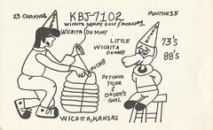 Wichita Dummy & Little Wichita Dummy - Wichita, Kansas (73sand88s by Cardboard America) Tags: qsl cb cbradio vintage qslcard idiot kansas