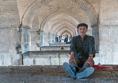 Old man resting under khaju bridge pol-e khaju, Isfahan province, Isfahan, Iran (Eric Lafforgue) Tags: 1people 60sadult adult adultsonly ancient architecture attraction bridge cap colorimage cultural day esfahan fullframe fulllength hispahan horizontal iran isfahan ispahan leisureactivity lookingatcamera middleeast onemanonly orient outdoors persia photography portrait recreation rest sepahan shahabbas sit spadana stone stony traveldestinations unescoworldheritagesite zayandeh isfahanprovince