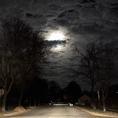 Super Moon 319/366 (j_wrobel) Tags: iphone7plus iphone iphone7 snapseed iphone366 project366 366in2016 iphoneography cameraphone amateur amateurphotographer shotoniphone7plus moon supermoon night road street intersection sky clouds dark ominous evening tree trees lacrosse lacrossewi wi wisconsin square instagram