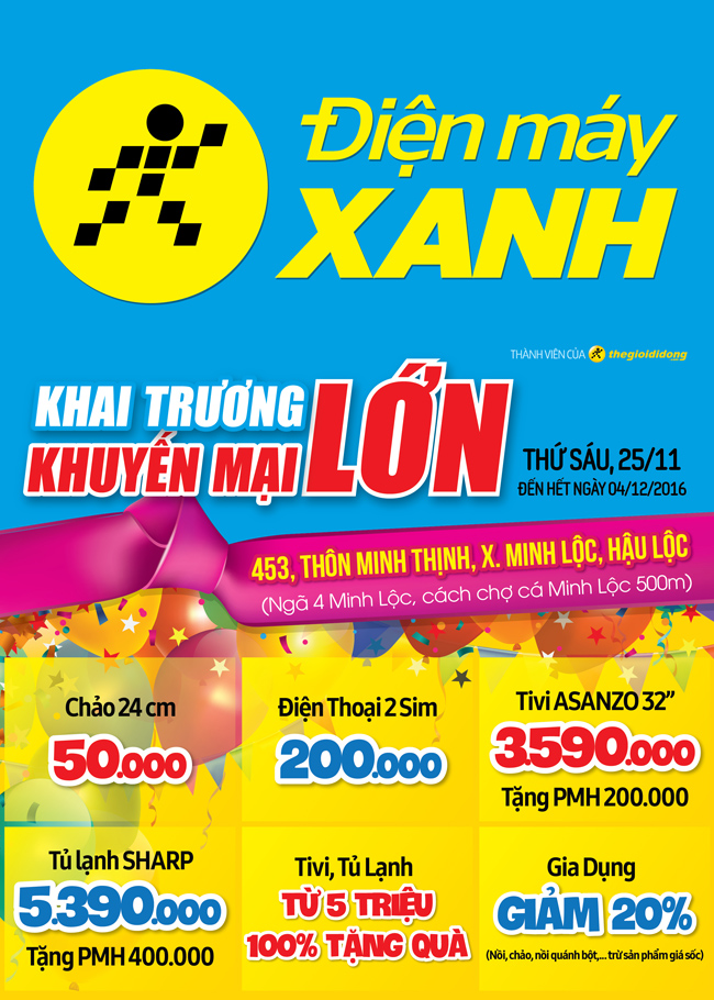 Khai trương siêu thị Điện máy XANH Minh Lộc, Thanh Hóa