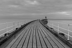 The Pier (cdhardaker) Tags: photography clouds sky landscape england ocean sea pier leadinglines calm seaside water walkway canon morning eastcoast earlymorning longexposure movement harbour fishing port whitby yorkshire uk