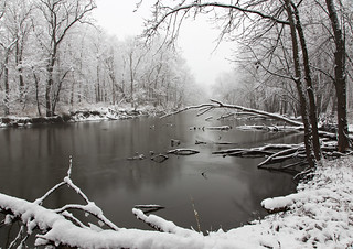 Snow-muted River