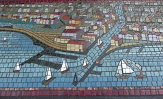 Chicago, Navy Pier, Early Chicago Lakefront Scene, Tile Mural (Mary Warren (7.6+ Million Views)) Tags: chicago navypier art sculpture tile mural chicagoriver lakemichigan lakefront sailboats