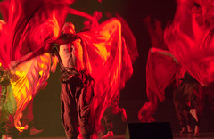 Southwest University of the Nationalities (Robert Borden) Tags: world asia china sichuan changdu southwestuniversity nationalities dance red men students stage light canon ceremony folk