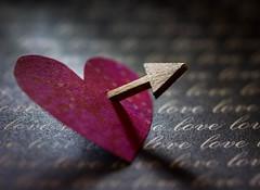 Shot Through The Heart (Captured Heart) Tags: heart paperheart love arrow cupid pierced macromondays