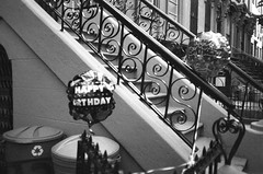 (lennajune) Tags: balloons blackwhite happybirthday stoop stjamesplace brooklynolympusmjuii