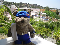 Ted and his budgie smugglers* [Explored] (pefkosmad) Tags: blue vacation holiday ted swim hotel village view balcony towel explore greece teddybear speedo swimsuit greekislands pefkos unionjack unionflag swimmingcap bathingcap dodecanese swimcap pefki swimmingtrunks budgiesmugglers explored pefkoi stellahotel tedricstudmuffin tedrhodes2013