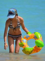Turtle Power (Ctuna8162) Tags: woman beach hawaii sand waikiki oahu sunny bikini honolulu floatie