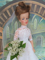(4) 20 years later, it still fits! (Foxy Belle) Tags: wedding flower castle vintage mom real bride doll theater dress little interior mother barbie tammy fresh bouquet 1960s ideal bridal mrs